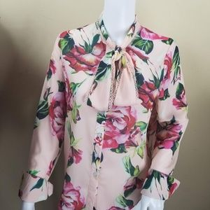 Dolce & Gabbana floral pussy bow lace blouse 6